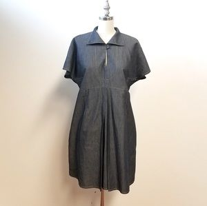 Carven Denim Mini Dress With Collar